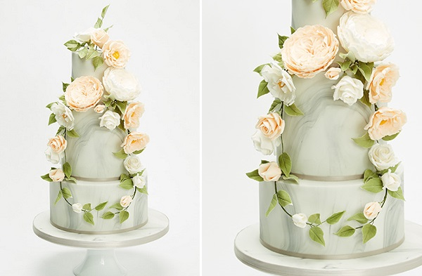 floral wreath garland wedding cake by Wedding Cakes by Design