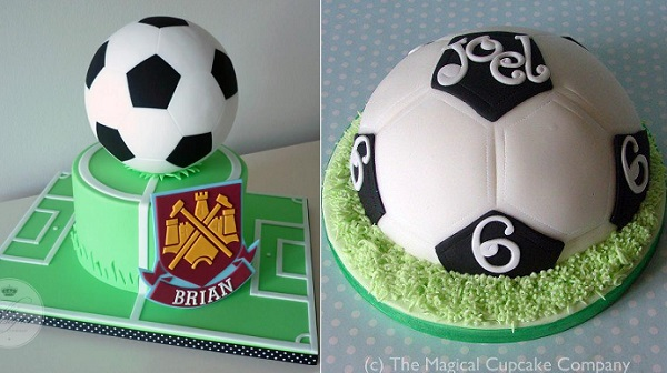 football cakes by The Designer Cake Co left, The Magical Cupcake Co right