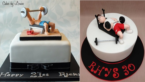 gym cakes and working out cakes by Cakes by Louise, left and DeVoli Cakes, right