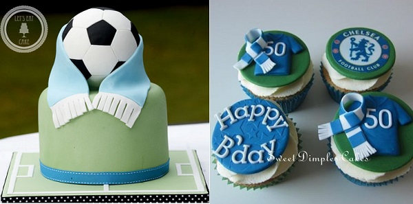 soccer cake by Let's Eat Cake, left and football fan cupcakes from Sweet Dimples Cakes right