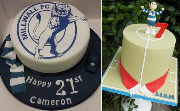 soccer cakes for football fans and Fathers Day by Through The Cakehole left, Let's Eat Cake, right