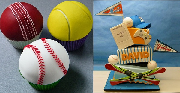 sports ball cupcakes by Mandy's Sugarcraft (tutorial on FB) and all sports cake by Lovely Cakes, right