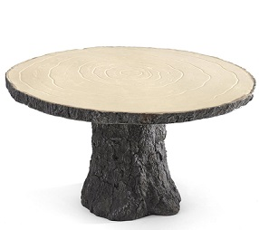 wood cake stand bark tree