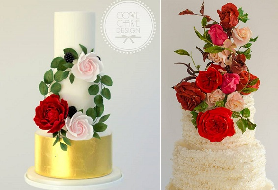 Bohemian wedding cakes Cove Cake Design left, Maggie Austin Cake right