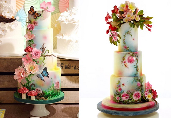 Bohemian wedding cakes by Sweet As Sugar Cakes left, Neli Josefsen right