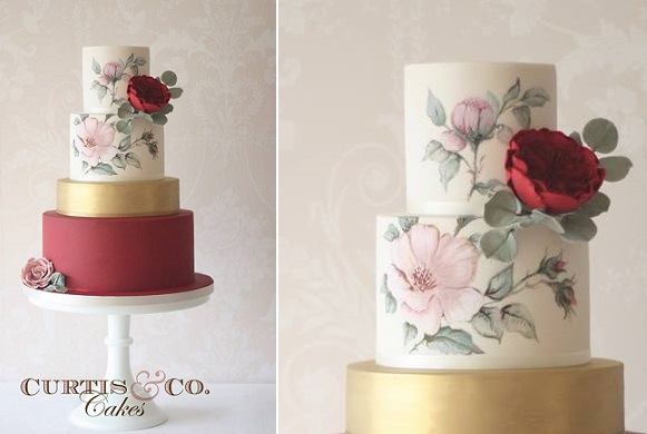 Bohemian wedding wedding cake in marsala, red and pink by Curtis and Co.