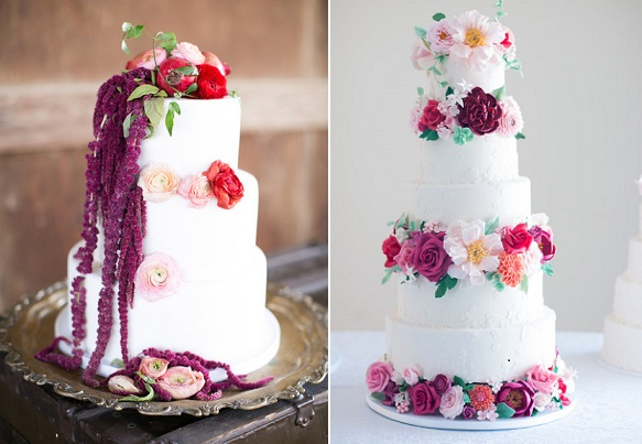 Bohemian weding cakes by Brooke Merrill Photography left, Luciana Borges right