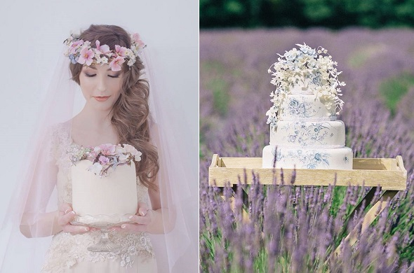 Boho wedding cakes by Amy Swann, Andrea Pennington Photographer left, Ashley Edwards Photography right