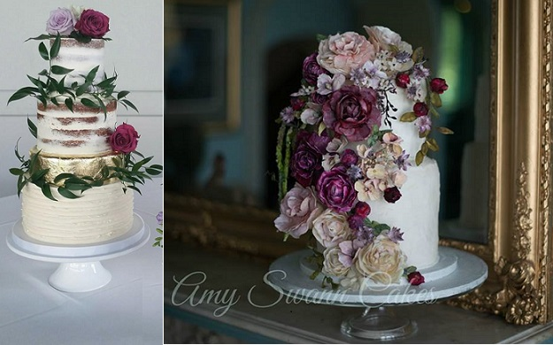 Boho wedding cakes by Nicole McEachnie left, Amy Swann Cakes, Lowri Pendrell Photography right