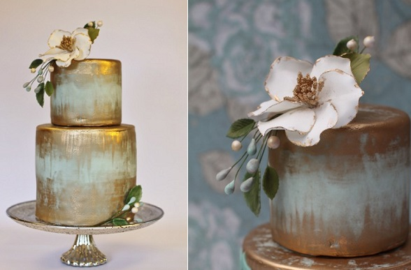 distressed gold wedding cake by Sweet and Swanky