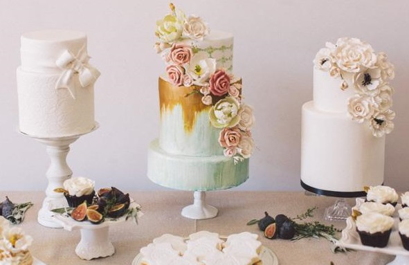 antique gold and mint wedding cake by The Cocoa Cakery