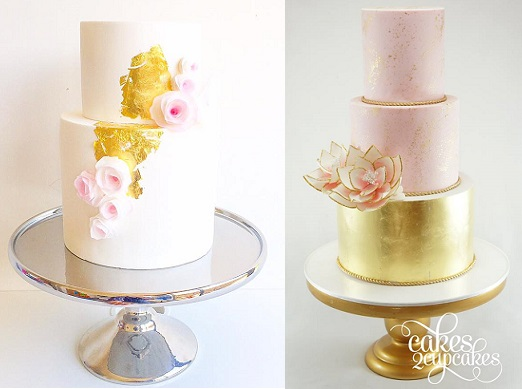 contemporary wedding cakes with distressed gold leaf by Mio Cupcakes left, Cakes2Cupcakes right inspired by The Cake That Ate Paris