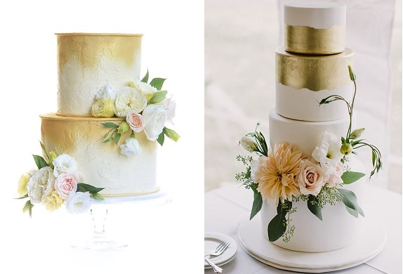 distressed gold and white wedding cakes by Sweet Love Cake Couture left, Sweet Heather Anne right