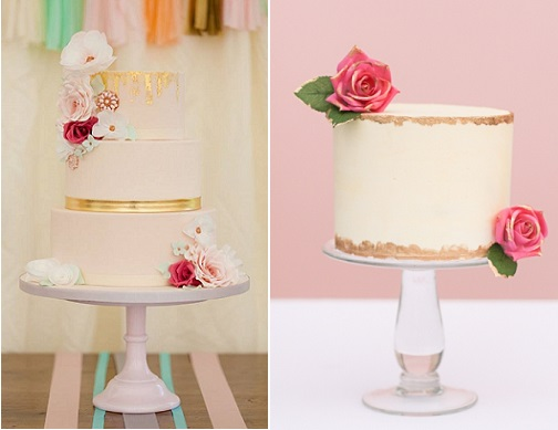distressed gold cakes by Amelie's Kitchen left, Erica O'Brien right