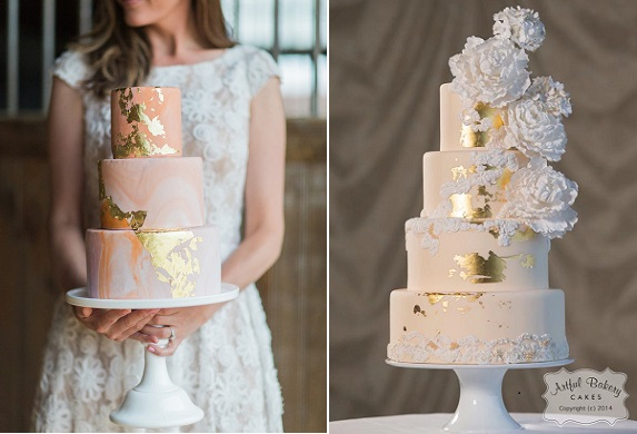 distressed gold leaf wedding cakes by the Cake Stand Bakery, Jessica Cooper Photography left, The Artful Bakery right