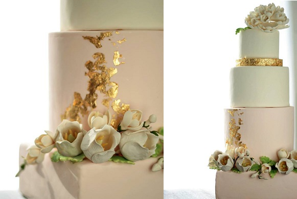 distressed gold wedding cake with heirloom gumpaste peony by The Cocoa Cakery