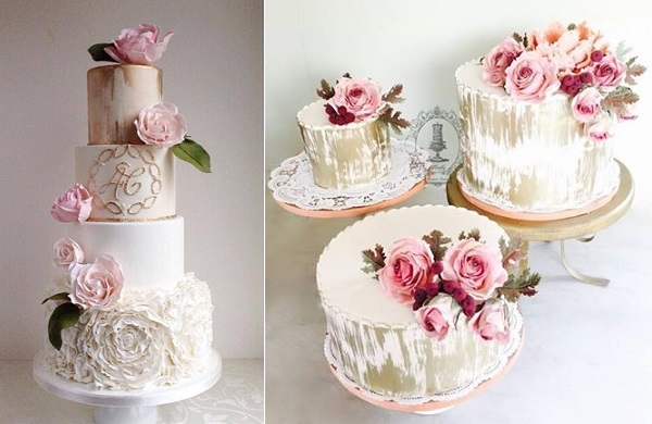 distressed gold wedding cakes antique style by The Cake Whisperer left, Firefly India right