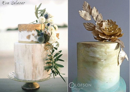 distressed gold wedding cakes by Eva Salazar left, Olofson Design right