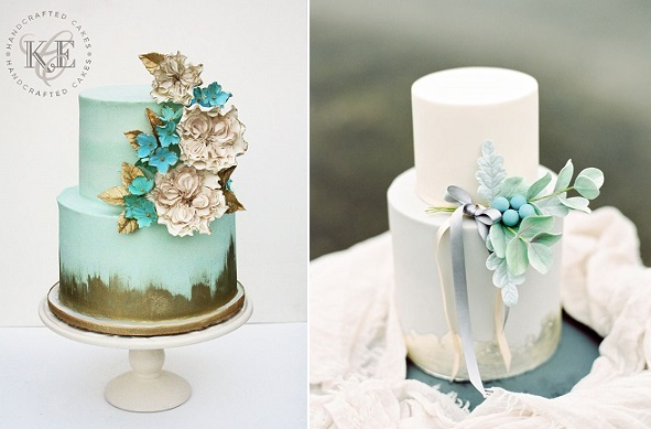distressed gold wedding cakes by KCE Cakes left, Gift Cakes Ire right with Paula O'Hara Photography