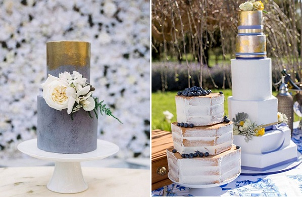 distressed gold wedding cakes by Sweet Bakes left, Sweet Bea's, Fiona Thurlings Photography right