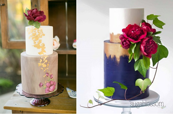 distressed gold wedding cakes by Sweet and Saucy left, Sugablossom right