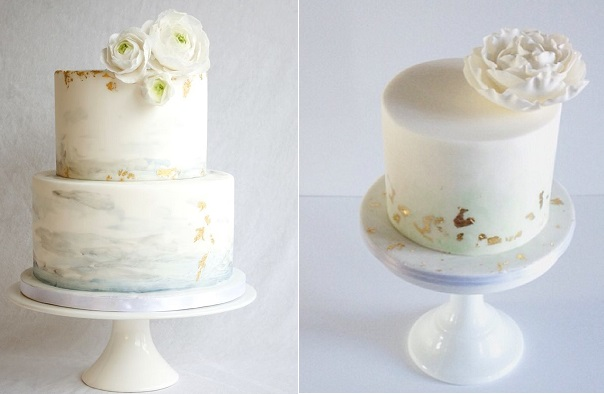 watercolor cakes with distressed gold leaf by Sanna's Tartor left, Laugh Love Cakes right