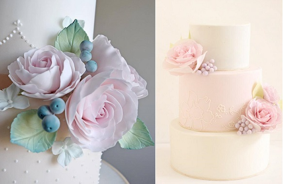 berries and pastels wedding cakes by Amelie's Kitchen left, Hello Naomi right
