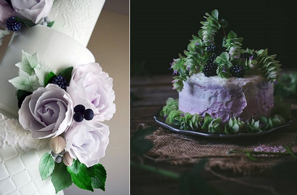 blackberries wedding cake by Amelie's Kitchen left, right Adventures in Cooking