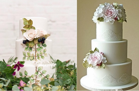 blackberry wedding cake by Cakes by Krishanthi left, The Designer Cake Co right