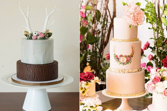 deer antlers wedding cakes by Miso Bakes left, Fine Cakes by Zehra right