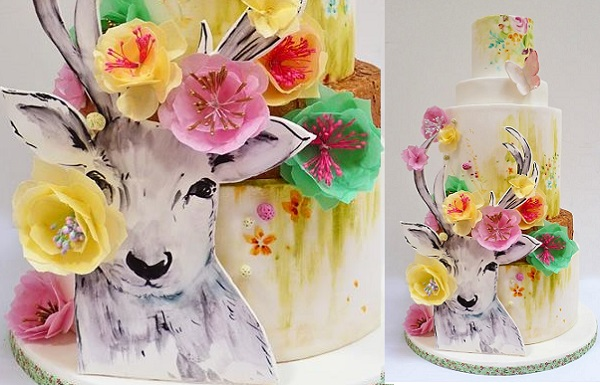 enchanted woodland wedding cake with woodland deer by Nevie Pie Cakes