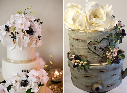 fall berries wedding cakes by Bakes & Beloved left, Madeline Cakes right