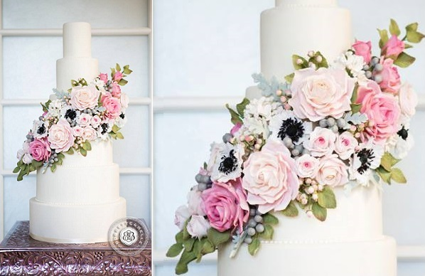 floral wedding cake with buds and berries by Bobbette & Belle, image Anthony Patrick Manieri