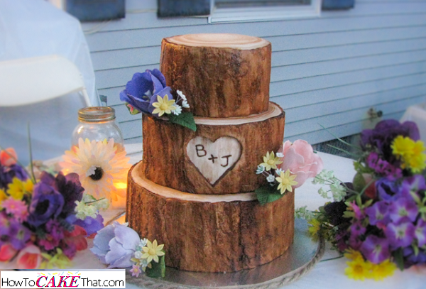 tree bark cake tutorial by How To Cake That