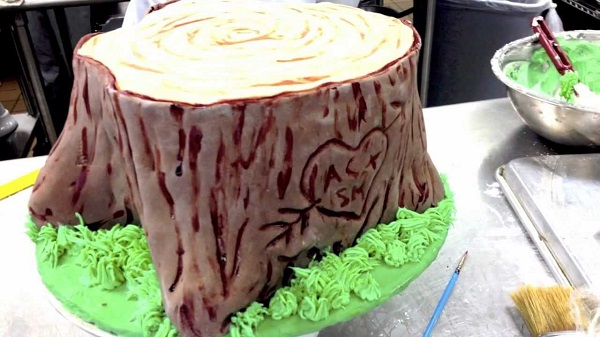 tree stump cake tutorial by The Baking Guru