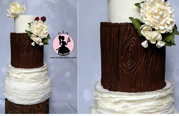 wood bark wedding cake by the Shakar Bakery
