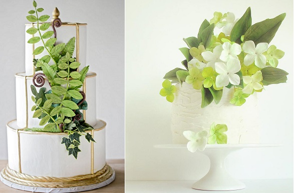 woodland fern wedding cake by Erin Bakes left, Maggie Austin right