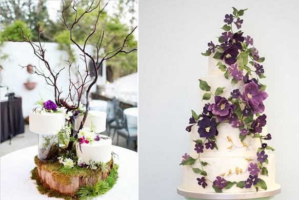 woodland wedding cakes Sweet Dreams Cakery, Adrienne Gunde Phot left, Rosalind Miller right