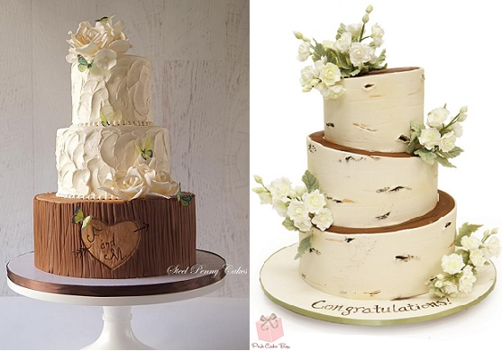 woodland wedding cakes by Steel Penny Cakes left, Pink Cake Box right
