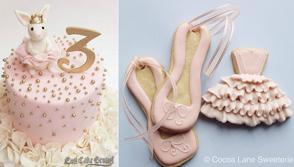 Ballerina cake by Evil Cake Genius left, ballet shoe cookies and ballet tutu cookie by Cocoa Lane Sweeterie