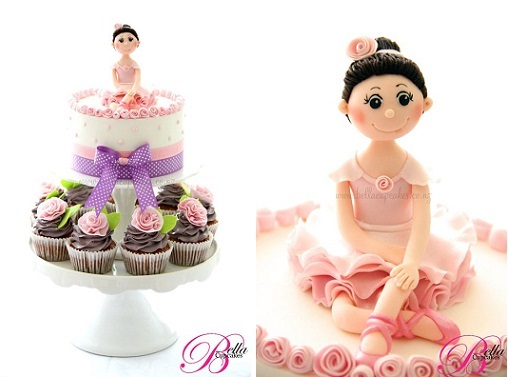 Ballerina cake topper and cupcakes by Bella Cupcakes