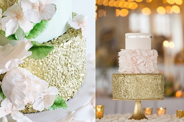 Gold sequins wedding cakes from Erica O'Brien Cakes (right, Erin Schrad Photography) and Jenna Rae Cakes (left)