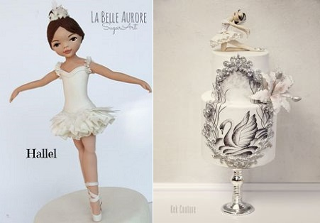 Gumpaste Ballerina Model Cake Topper by La Belle Aurore Sugarcraft left, Ballerina Cake right by Kek Couture