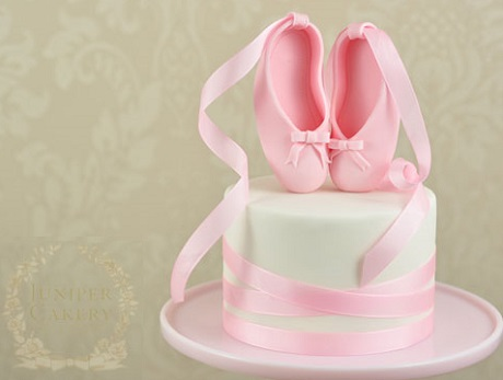 ballet shoe cake topper tutorial by The Juniper Cakery on Craftsy