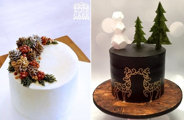 Buttercream christmas wreath cakes by Alice Cake left, chocolate ganache christmas cake by  Cakes and Crafts by Kass right