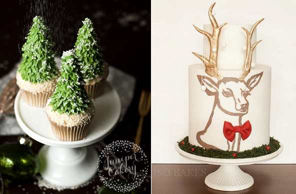 Christmas Tree Cupcakes tutorial by Juniper Cakery left, stag's head cake by Miso Bakes right