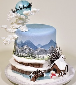 Christmas Cake Winter Scenery Tutorial from Yener's Way