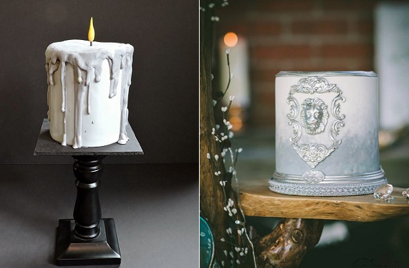 Christmas candle cake by Jeanne Winslow left, Narnia cake by Candytuft Cakes right
