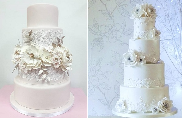 Lace winter wedding cakes from The Caketress left, Rachelles Cakes right