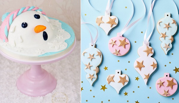 A fun themed melting snowman cake tutorial by Juniper Cakery left, christmas bauble cookies by Peggy Porschen right